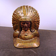 Doorstop, Cast Iron, Native American Chief