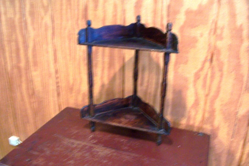 Primitive Standing Corner Walnut Shelf