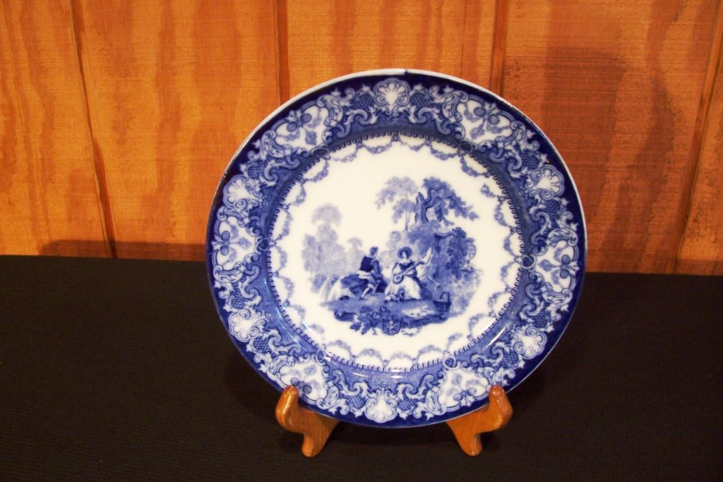 Flow Blue Plate, Watteau Pattern