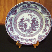 "Mulberry Plate - Stoneware - ""The Temple"" Pattern 1800's"
