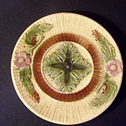 Majolica Plate, Rose & Rope Design, late 1800's