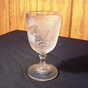 "EAPG Goblet, "" Rose In Snow"" Pattern"