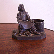Match- Holder, Metal Figural Cobbler