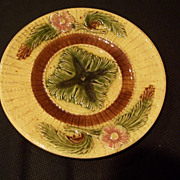 Majolica Plate, Rose & Rope Pattern