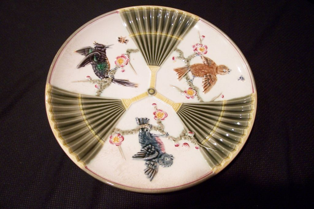 Majolica Plate, Bird & Fan Pattern, Signed Wedgwood, 1800's