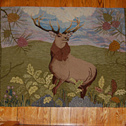 SALE Amazing 'Monarch of the Glen' Deer Hooked Rug