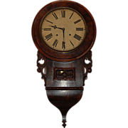 SALE Antique Walnut Burl Case Clock EN Welch works