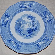 SALE J Clementson Ironstone 'Siam' Pattern 9&quot; Plate Blue and White mid 19th c.