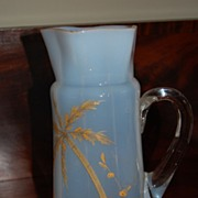 Hand Blown Opal Glass Pitcher with palm tree painting