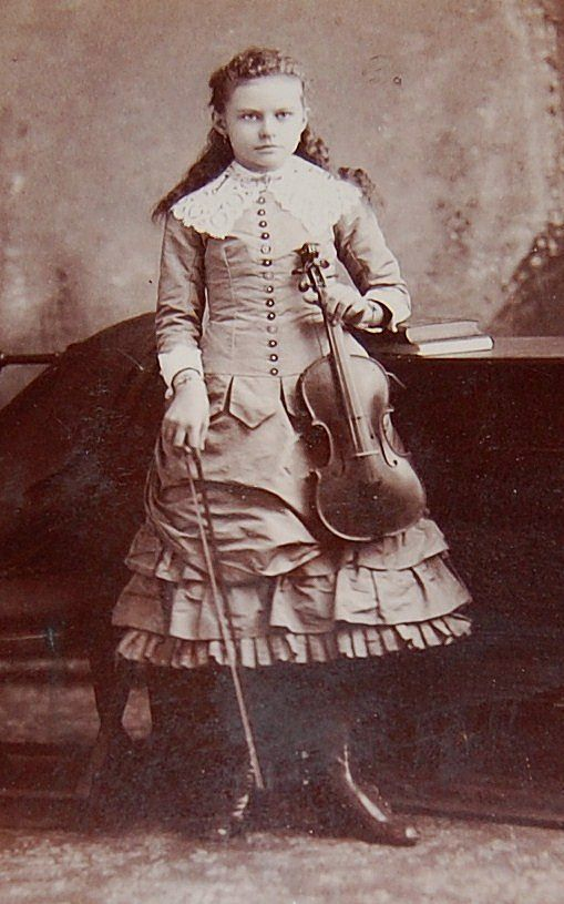 1890s Victorian Girl W Violin Cabinet Card Photograph