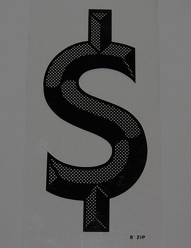 Vintage Black Op Art Dollar Marquee Sign