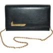 1960/70s Faux Black Leather Purse w/ Goldtone Chain Strap