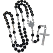 Vintage Black Glass Bead Rosary ~ Made in France