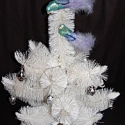SALE 1960s White Bottle Brush Christmas Tree & 20 Glass Ornaments