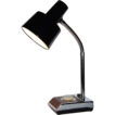 1970/80s Industrial Chrome & Faux Wood Gooseneck Lamp