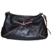 1980s Marco Buggiani ~ Black Leather Purse w/ Mauve Accents