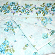 SALE 1960s Cannon Monticello ~ Blue Rose Full Flat Sheet