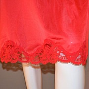 SALE 1980s Olga ~ Cherry Red Nylon & Lace Half Slip