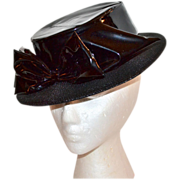 SALE 1960s Henry Margu ~ Black Vinyl Bow Boater Style Hat