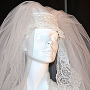 SALE 1960/70s Pleated Wedding Gown w/ 4' Train & Bridal Veil