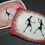 SALE Art Deco 4-Pc Josephine Baker Style Pink Cigarette Box w/ Ashtrays