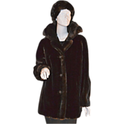 SALE 1960s AVS ~ Chocolate Brown Faux Mink Fur Coat w/ Matching Hat