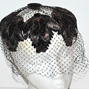 SALE 1950s Gothic Black Velvet Spiderweb Veil Hat