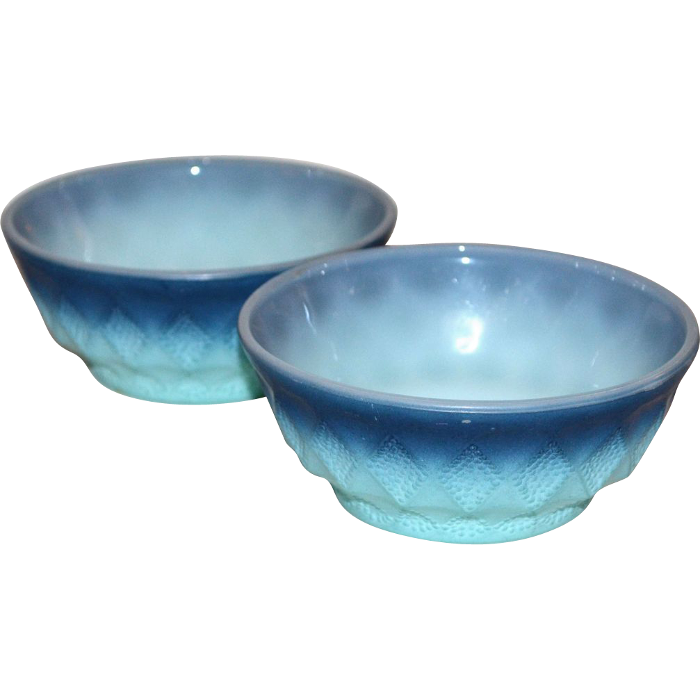 Anchor Hocking Fire King ~ Set of 2 Kimberly Pattern Bowls