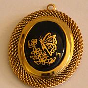 SALE VTG Large Black Butterfly Goldtone Pendant
