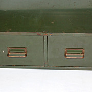 SALE Industrial Grunge Green 2-Drawer Metal File Cabinet