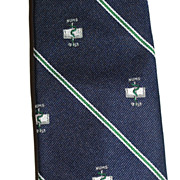 SALE Wm Chelsea ~ Caduceus Snake & Book of Numbers Navy Blue Tie