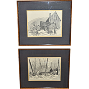 SALE 1969 Signed Set of 2 Old Shack House Framed Prints