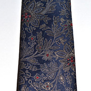 SALE Oscar de la Renta ~ Navy Blue Floral Scrollwork Men's Tie
