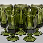 SALE 1970s Set of 5 Gothic Green Paneled Goblets