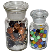 SALE Set of 2 Apothecary Chemist Jars w/ Lids