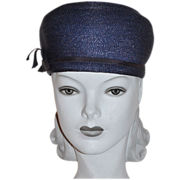 SALE 1960s Valerie Modes ~ Navy Blue Structured Hat