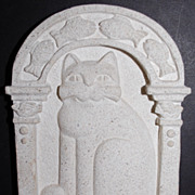 SALE 1985 Carruth ~ Cat Stone Garden Plaque