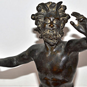 SOLD Antique Patinated Bronze Greek Mythology Pan Sculpture