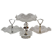 SALE Cherub Diamond Point Glass Candy Dish Set