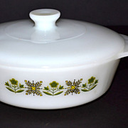 SALE 1960/70s Fire King ~ 1 QT Meadow Green Casserole Dish w/ Lid