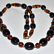 SALE Long Black, Tiger-Striped & Horn Beaded Necklace