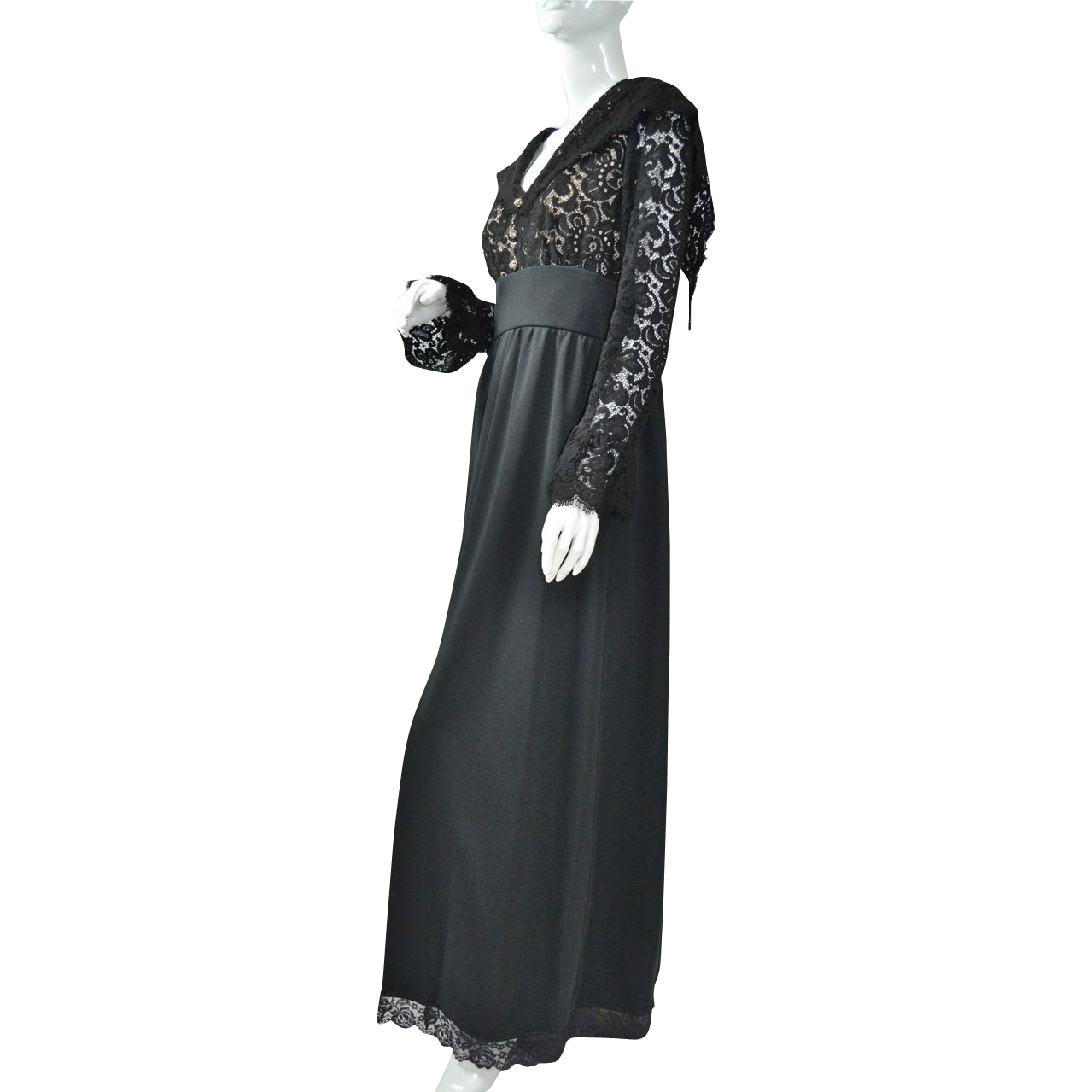 1960 70s lord taylor black lace maxi dress from