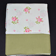 SALE 1970s Wamsutta ~ Pink Rose w/ Avocado Green Trim Double Flat Sheet
