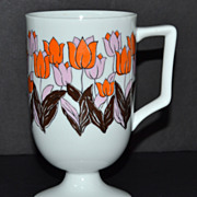 SALE 1960s Fine China Orange & Pink Tulip Pedestal Mug