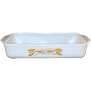 SALE Fire-King ~ Wheat Pattern Milk Glass Casserole Dish