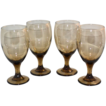 1970s Set of 4 Smoky Topaz Water Goblets