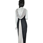 SALE Bill Levkoff ~ Black & White Pleated Chiffon Formal Gown