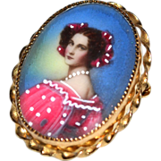 SALE 12K GF Italian Lady Oval Pendant/Pin