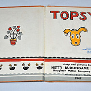 SALE 1947 Topsy the Dog Hardcover Children's Book