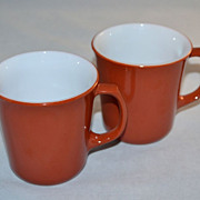 SALE 1970s Corning ~ Set of 2 Cinnamon Rust Milk Glass Mugs